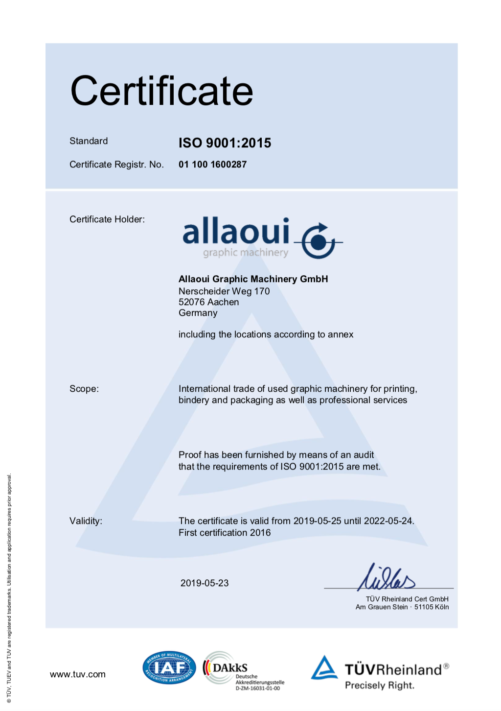 Allaoui ISO certification